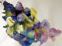 Watercolor abstract background floral pattern flowers orchid wet wash blurred decoration hand beautiful wallpape. Watercolor art abstract background bright brush stock illustration