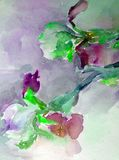 Watercolor abstract background floral pattern iris flower texture decoration hand beautiful wallpaper. Watercolor art abstract background bright dry brush Royalty Free Stock Image