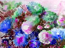 Watercolor abstract background floral pattern aster flower bouquet nature love texture decoration hand beautiful wallpaper. Watercolor art abstract background Royalty Free Stock Photos