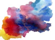Watercolor art  background abstract  colorful textured. Watercolor art abstract background  colorful sky  clouds wet wash water liquid blurred textured misty Royalty Free Stock Images