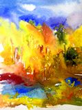 Watercolor art abstract background landscape forest  trees autumn    Stock Photos