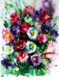 Watercolor art abstract background floral aster wild flowers blossom branch texture wet wash blurred fantasy. Art abstract background extruded in watercolor Royalty Free Stock Images