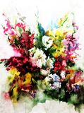 Watercolor art abstract background floral wild flowers blossom branch texture wet wash blurred fantasy. Art abstract background extruded in watercolor. nature Stock Photos