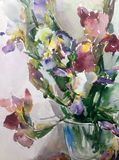 Watercolor art abstract background fresh beautiful floral iris flowers vase  modern textured wet wash blurred fantasy. Art abstract background extruded in Stock Photo