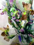 Watercolor art abstract background fresh beautiful floral iris flowers vase  modern textured wet wash blurred fantasy. Art abstract background extruded in Royalty Free Stock Photo