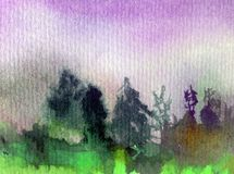 Watercolor art abstract background fresh beautiful landscape sky  forest trees pine nature textured wet wash blurred fantasy. Art abstract background extruded in Royalty Free Stock Photos