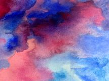 Watercolor art abstract background fresh beautiful sky clouds air day textured wet wash blurred fantasy stock image