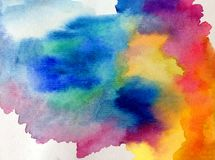Watercolor art abstract background fresh beautiful sky morning sunrise nature  textured wet wash blurred  fantasy Royalty Free Stock Photo