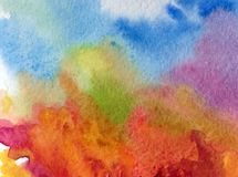 Watercolor art abstract background sky autumn landscape clouds day forest texture wet wash blurred fantasy. Art abstract background extruded in watercolor royalty free illustration