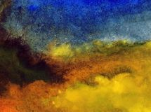Watercolor art abstract background sky cloud landscape autumn blot overflow texture wet wash blurred fantasy. Art abstract background extruded in watercolor stock illustration