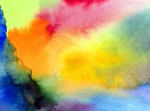 Watercolor art abstract background sky clouds sunrise sunset rainbow texture wet wash blurred fantasy. Art abstract background extruded in watercolor. nature royalty free illustration