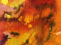 Watercolor art  background abstract autumn colorful textured red orange strokes Stock Image