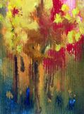 Watercolor art background abstract autumn tree yellow red green blue colorful textured wet wash blurred. Art abstract background executed watercolor. textured vector illustration