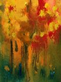 Watercolor art background abstract autumn tree yellow red green blue colorful textured wet wash blurred. Art abstract background executed watercolor. textured Stock Photography