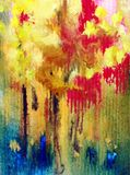 Watercolor art background abstract autumn tree yellow red green blue colorful textured wet wash blurred. Art abstract background executed watercolor. textured Stock Images