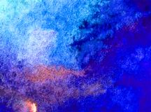 Watercolor art background abstract blue ocean sea water colorful textured wet blurred decoration Stock Photo