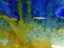 Watercolor art  background abstract  blue  overflow colorful textured wet wash blurred Stock Photos