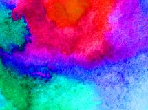 Watercolor art  background abstract  blue red  overflow colorful textured wet wash blurred Royalty Free Stock Images