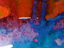 Watercolor art  background abstract  blue red overflow colorful textured wet wash blurred Royalty Free Stock Photo
