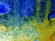 Watercolor art background abstract blue yellow rain liqued colorful blue overflow liqued textured wet blurred decoration. Art abstract background executed Royalty Free Stock Photography