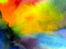 Watercolor art  background abstract  blurred rainbow morning sunrise sky. Art abstract background executed with watercolors .   bright wet wash textured blurred Royalty Free Stock Photo