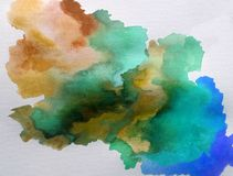 Watercolor art background abstract cloud fantasy wet wash blurred splash vibrant. Art abstract background executed watercolor. textured strokes blots splash wet Stock Photography