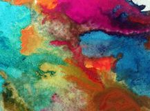 Watercolor art background abstract colorful  blot  overflow  Stock Photo