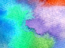 Watercolor art background abstract colorful textured creative blot overflow stains sky clouds sunrise. Abstract art abstract  background extruded watercolor Royalty Free Stock Photos