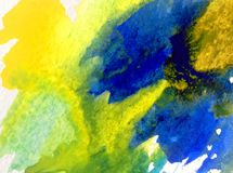 Watercolor art background abstract colorful textured wet wash blurred overflow blots Royalty Free Stock Photos