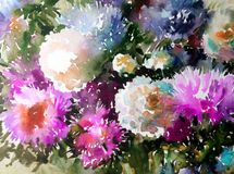 Watercolor art background abstract floral flower aster white pink violet  wet wash blurred fantasy. Art abstract background extruded in watercolor. nature bright Royalty Free Stock Photos