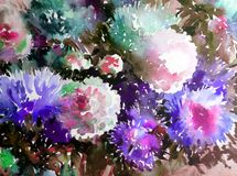 Watercolor art background abstract floral flower aster white pink violet  wet wash blurred fantasy. Art abstract background extruded in watercolor. nature bright Stock Photos