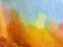 Watercolor art background abstract landscape autumn forest blue red yellow colorful textured wet wash blurred. Art background extruded watercolor. textured wet Royalty Free Stock Photos
