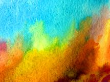 Watercolor art background abstract landscape forest autumn blue brown red yellow colorful textured wet wash blurred. Art background extruded watercolor. textured Royalty Free Stock Image