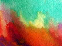 Watercolor art background abstract landscape forest autumn blue yellow colorful textured wet wash blurred. Art background extruded watercolor. textured wet wash Stock Photo
