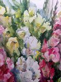 Watercolor art background abstract pattern floral bouquet flowers gladiolus garden wedding textured wet wash blurred fantasy. Art abstract background extruded in stock illustration