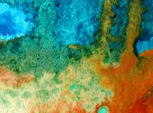 Watercolor art background abstract rain colorful blue overflow liqued textured wet blurred decoration Stock Image