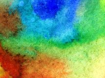 Watercolor art  background abstract sea coast blue brown yellow green overflow colorful textured wet wash blurred. Art background extruded watercolor. textured Royalty Free Stock Photography