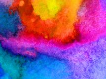 Free Watercolor Art  Background Abstract Sky Sunset Blue Brown Yellow Green Overflow Colorful Textured Wet Wash Blurred Stock Image - 106689501