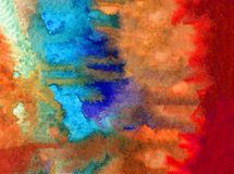Watercolor art background abstract underwater red coral reef blue yellow colorful textured wet wash blurred sea ocean. Art background extruded watercolor Stock Image