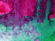 Watercolor art background abstract violet magenta rain liquid colorful blue overflow  textured wet blurred decoration Royalty Free Stock Photography