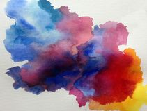 Watercolor art background abstract wet wash blurred spring splash sky storm Royalty Free Stock Photo