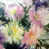 Watercolor art background abstract wind vibrant green yellow white asters flower Stock Photo