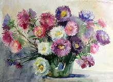 Watercolor art background colorful aster flower vase still life painting Stock Photo