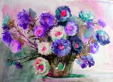 Watercolor art background colorful aster flower vase still life painting Royalty Free Stock Image