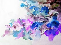 Watercolor art background colorful blue pink flower blossom branch spring garden. Art background extruded watercolor. textured wet wash blurred brush wallpaper stock illustration