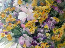 Watercolor art background colorful bouquet flowers yellow violet white wild. Art background extruded watercolor. textured wet wash blurred brush wallpaper stains Royalty Free Stock Images
