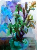 Watercolor art background colorful flower bouquet  iris Stock Image
