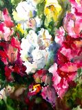 Watercolor art background colorful flowers bouquet garden Stock Photography