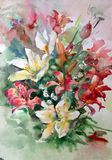 Watercolor art background colorful flowers lilies bouquet Stock Photos