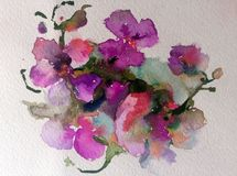 Watercolor art background colorful flowers violet orchid. Art background extruded watercolor. textured wet wash blurred brush wallpaper stains overflow blots Stock Photo